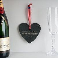 Personalised Slate Hanging Keepsake - Just Married - Keepsake Gifts