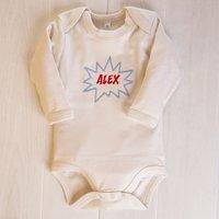 Personalised Organic Beige Long Sleeve Baby Grow - KAPOW - Babygrow Gifts