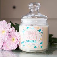 Personalised Deluxe Jar Candle - Thank You Flowers - Candle Gifts