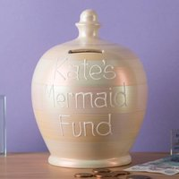 Personalised Metallic Pearl Mermaid Fund Money Pot - Mermaid Gifts