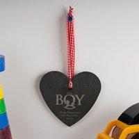 Personalised Slate Hanging Keepsake - Baby Boy - Baby Boy Gifts