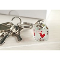 Spaceform Glass Key Ring - 'Love You' Hearts & Dots - Key Ring Gifts