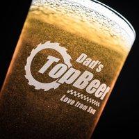 Personalised Pint Glass - Dad's Top Beer - Beer Gifts