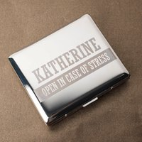 Engraved Cigarette Case - Open In Case Of Stress - Cigarette Gifts