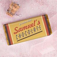 Personalised Dark Chocolate Bar - Retro - Dark Chocolate Gifts