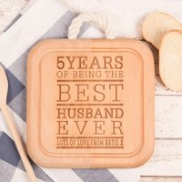 Image of Engraved Wooden Square Board With Rope Handle - 5th Anniversary Husband