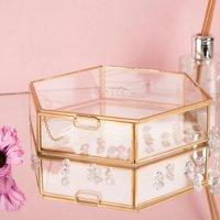 Personalised Hexagonal Glass Jewellery Box - Any Name - Jewellery Box Gifts