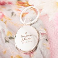 Engraved Photo Key Ring - Super Mum - Key Ring Gifts