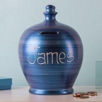 Personalised Metallic Blue Money Pot - Money Gifts