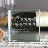 Personalised Glass Token - Happy Engagement - Engagement Gifts