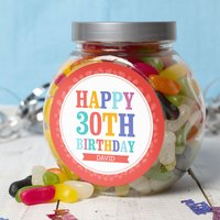 Personalised Jelly Beans Jar - Happy 30th - 30th Gifts