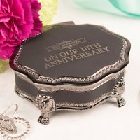 Personalised Black Vintage Jewellery Box - Our 10th Anniversary - Jewellery Box Gifts