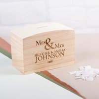 Personalised Wooden Money Box - Mrs & Mrs - Money Gifts