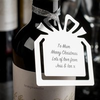 Image of Engraved Present Metal Wine Bottle Gift Tag