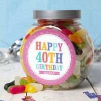 Personalised Jelly Beans Jar - Happy 40th - 40th Gifts