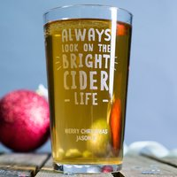 Personalised Pint Glass - Bright Cider Life - Cider Gifts