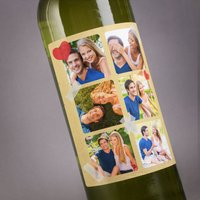 Photo Upload Wine - Hearts, 6 Photos - Photos Gifts