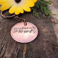 Personalised Copper Disc Key Ring - Coordinates - Key Ring Gifts