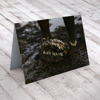 Personalised Card - Muddy Rugby Ball - Rugby Gifts