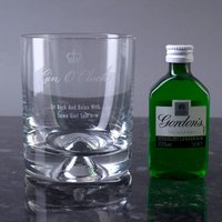 Personalised Stern Gin Glass With Miniature - Gin O'Clock - Gin Gifts