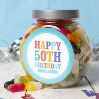 Personalised Jelly Beans Jar - Happy 50th - 50th Gifts