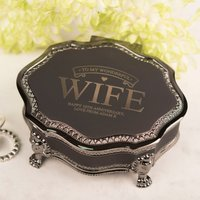 Personalised Black Vintage Jewellery Box - To My Wife - Jewellery Box Gifts