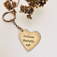 Personalised Copper Heart Key Ring - Any Message - Key Ring Gifts