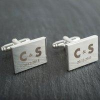Engraved Rectangle Cufflinks - Couple's Initials - Cufflinks Gifts