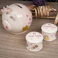 My First Piggy Bank, Tooth & Curl Trinket Boxes - Baby Girl - Piggy Bank Gifts