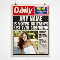 Personalised Spoof Newspaper Print - Best Girlfriend - Newspaper Gifts