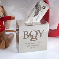 Personalised Silver Money Box - 'It's A Boy' - Money Box Gifts