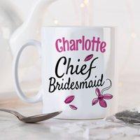 Personalised Mug - Chief Bridesmaid Pink Flowers - Bridesmaid Gifts