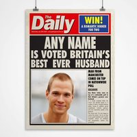 Personalised Spoof Newspaper Print - Best Husband - Husband Gifts