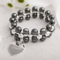 Personalised Black Beaded Bracelet