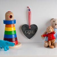 Personalised Heart-Shaped Slate Hanging Keepsake - Baby Girl - Keepsake Gifts