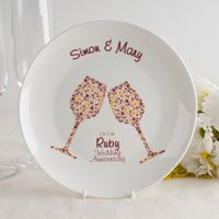 Personalised Bone China Plate - Ruby Anniversary Champagne - Wedding Anniversary Gifts