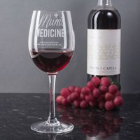 Personalised Wine Glass - Mum's Medicine - Medicine Gifts