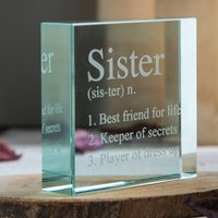 Personalised Glass Token - Sister Meaning - Sister Gifts