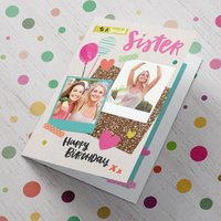 Double Photo Upload Birthday Card - Special Sister - Sister Gifts