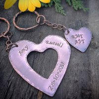 Personalised Copper Double Heart Key Ring - Key Ring Gifts