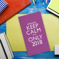 Personalised Slim Diary - Keep Calm It's Only, Purple - Diary Gifts