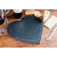 Personalised Heart Shaped Slate Cheeseboard - Valentine's