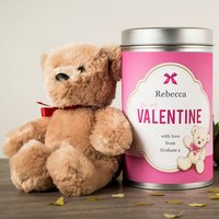 Personalised Teddy In A Tin - Be My Valentine