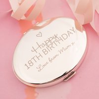 Engraved Silver Oval Compact Mirror - Happy 18th Birthday
