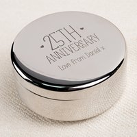 Engraved Circular Trinket Box - 25th Anniversary - Wedding Anniversary Gifts