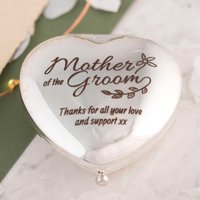Engraved Heart Compact Mirror - Mother Of The Groom - Engraved Gifts