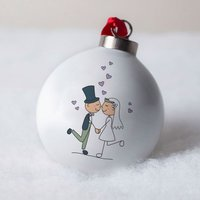 Personalised Bone China Bauble - Wedding Couple - Wedding Gifts