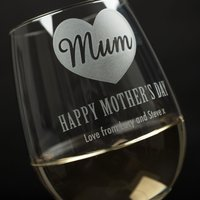 Personalised Wine Glass - Mother's Day Heart