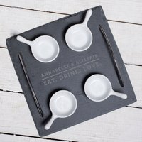 Engraved Slate Serving Tray With 4 Bowls - EAT. DRINK. LOVE. - Bowls Gifts