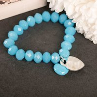 Engraved Turquoise Charm Bracelet - Any Message - Charm Bracelet Gifts